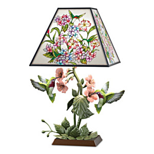 """Garden Of Light"" Stained Glass Hummingbird Lamp"