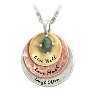 """Live Well, Love Much, Laugh Often"" Jade Pendant Necklace"