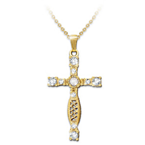 Cross Pendant Necklace With The Lord's Prayer Centrepiece