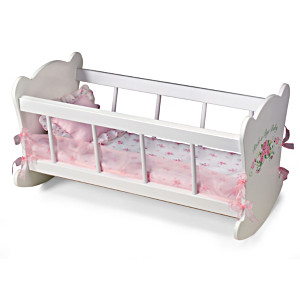 """Rock-A-Bye Cradle"" Doll Accessory And Bedding For Dolls"