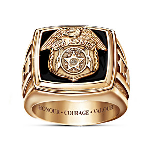 """Serve And Protect"" Men's Engraved Police Ring With Shield"