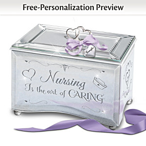 """Nursing Is The Art Of Caring"" Personalized Glass Music Box"