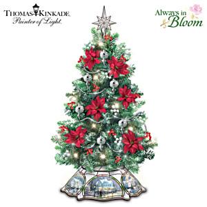 Illuminated Tabletop Christmas Tree With Thomas Kinkade Art