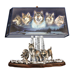 "Al Agnew ""Mystic Sentinels"" Lamp With Sculpted Wolves Base"