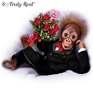 """So Truly Real """"Wild About You"""" Monkey Doll With Rose Bouquet"""