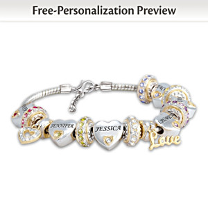 Forever In A Mother's Heart Personalized Birthstone Bracelet