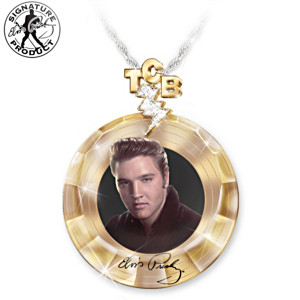 """Elvis Gold Record"" Pendant Necklace With Swarovski Crystals"
