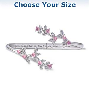 """""""Granddaughter, My Love Grows"""" Engraved Crystal Bracelet"""