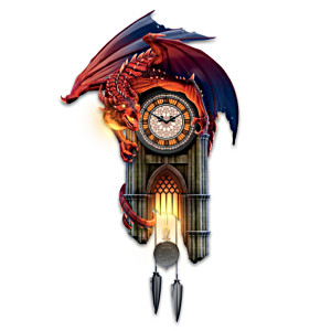 """""""Reign Of Fire"""" Dragon Illuminated Wall Clock With Sound"""