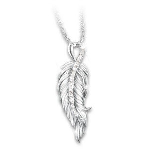 """""""When Angels Are Near"""" Diamond Remembrance Necklace"""