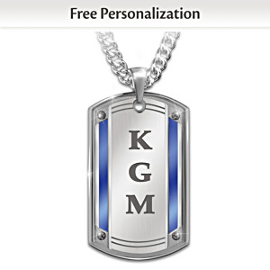 """Proud To Call You Son"" Monogrammed Dog Tag Pendant Necklace"