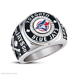 Toronto Blue Jays Men's Ring With Real Baseball Piece