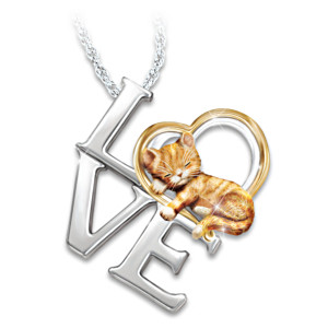 Purr-fect Love Women's 14K Gold-Plated Cat Pendant Necklace
