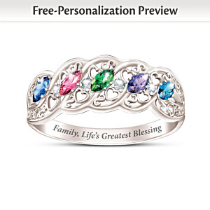 """The Gift Of Family"" Women's Personalized Birthstone Ring"