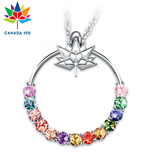 Canada's 150th Anniversary Crystal Pendant Necklace