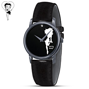 Betty Boop Silhouette Men's Diamond Watch With Leather Band