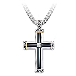 """God Is My Strength"" Men's Diamond Cross Pendant Necklace"