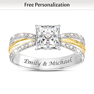 """All Our Love"" Personalized White Topaz Ring With 2 Names"