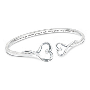 """Always My Daughter"" Engraved Heart-Shaped Diamond Bracelet"