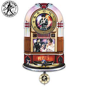 Elvis Rock 'N' Roll Illuminated Rotating Jukebox Wall Clock