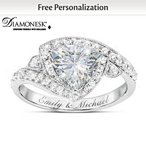 """Once In A Lifetime"" Diamonesk Ring With 2 Engraved Names"