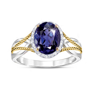 """Royal Radiance"" Women's Iolite And White Topaz Ring"