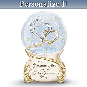 Granddaughter, I Love You Personalized Musical Glitter Globe