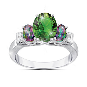 """Mystic Beauty"" Women's Helenite And Mystic Topaz Ring"