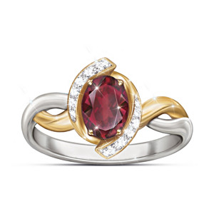 """Magnificent Merlot"" Women's Garnet And White Topaz Ring"