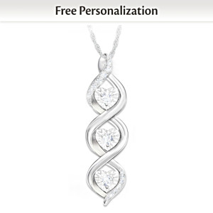 Personalized Daughter Pendant With Heart-Shaped Diamonds