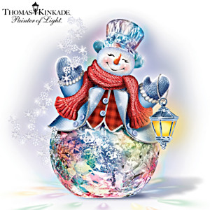 Thomas Kinkade Colour-Changing Crystal Snowman Sculpture