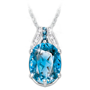 """Twilight Lustre"" Blue And White Topaz Pendant Necklace"