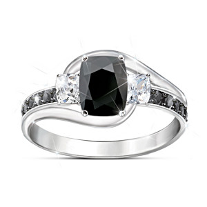 """Black Velvet"" Women's Black Spinel And White Topaz Ring"