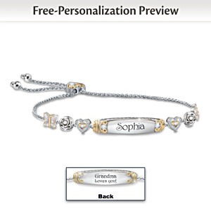 Granddaughter Bolo Bracelet With Two Personalized Engravings
