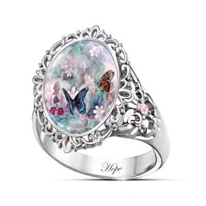 """Lena Liu's """"Butterflies Of Hope"""" Swarovski Crystal Ring"""