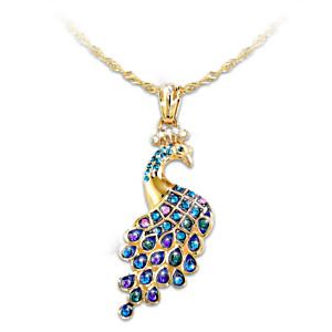 """Majestic Wonder"" Swarovski Crystal Peacock Pendant Necklace"