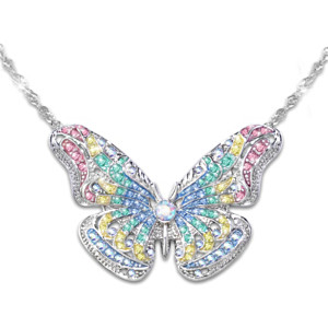 """Garden Brilliance"" Swarovski Crystal Butterfly Necklace"