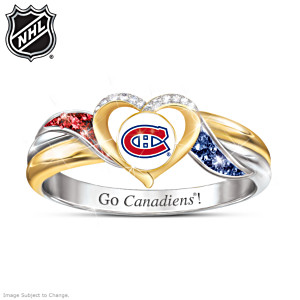 Canadiens® Pride Ring With Team-Colour Crystals