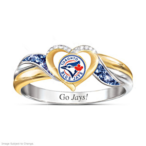 Toronto Blue Jays Pride Ring With Team-Colour Crystals