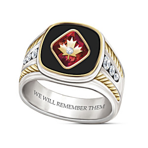 """""""Lest We Forget"""" Men's Onyx Ring With Engraving"""
