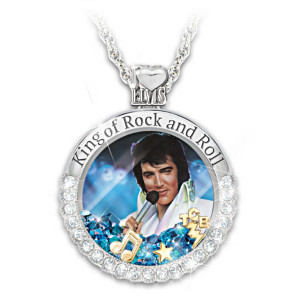 """Rock And Roll Elvis"" Floating Crystal Pendant Necklace"