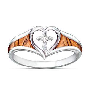 """Lovingkindness Of God"" Cross Ring With Genuine Olive Wood"