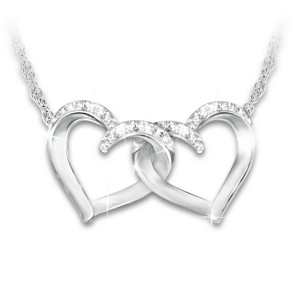"""""""Close At Heart"""" Sisters Sterling Silver Crystal Necklace"""