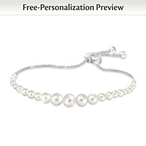 """Grandma's Pearls Of Wisdom"" Personalized Diamond Bracelet"
