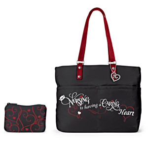 """Caring Heart"" Nursing Tribute Tote Bag With Cosmetic Case"