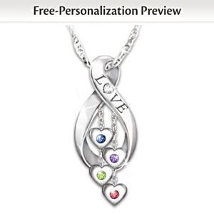 Infinite Love Personalized Family Birthstone Diamond Pendant