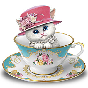 """Royal Purr-fection"" Sculpted Cat and Teacup Figurine"