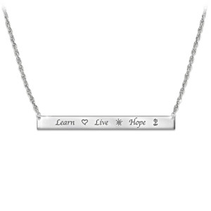 """Learn, Live, Hope"" Inspirational Engraved Bar Necklace"