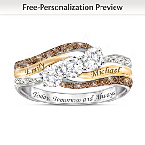 Romantic Women's Diamond & Topaz Ring With 2 Engraved Names