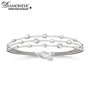 """Starry Night"" Women's Diamonesk Twisted Cable Bracelet"